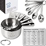 Measuring Cups and Spoons Stainless Steel Metal - Stackable 12 pieces with ORIGINAL Magnetic Measurement Conversion Chart | Only from Indigo True Company
