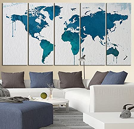 Large wall art blue world map canvas print streched giclee wall art large wall art blue world map canvas print streched giclee wall art canvas 5 piece 12x32 gumiabroncs Gallery