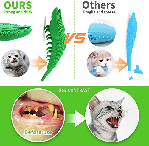 Adusa Interactive Cat Toys Catnip Toys Cat Toothbrush Chew Toys,100% Natural Rubber Bite Resistance Catnip Cat Treat Toys,Crayfish Shape Cats Teeth Cleaning Dental Care toys 3