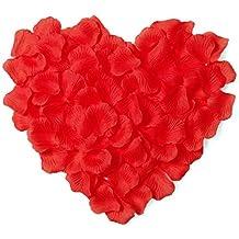1000pcs White Silk Rose Petals Artificial Flower Wedding Party Vase Decor Bridal Shower Favor Centerpieces Confetti (Hot Red)