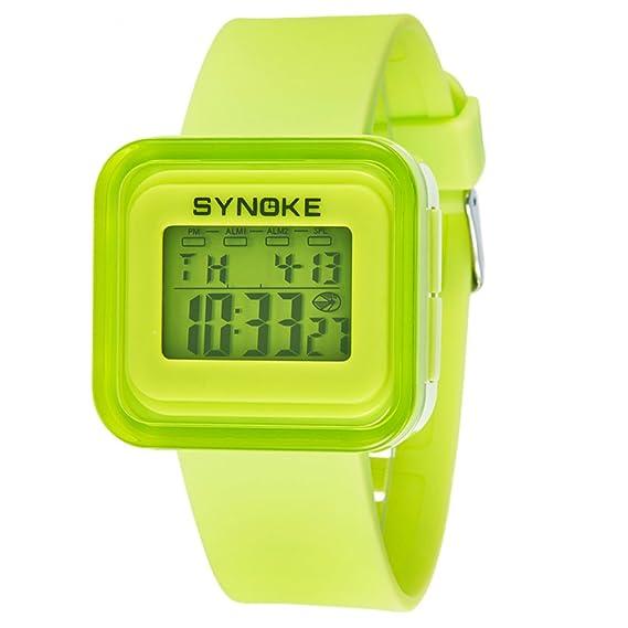 Reloj digital para niños,Resistente al agua 50 metros Luminoso Despertador Fecha Piscina Jalea reloj de Mesa para niños Niños y niñas-B: Amazon.es: Relojes