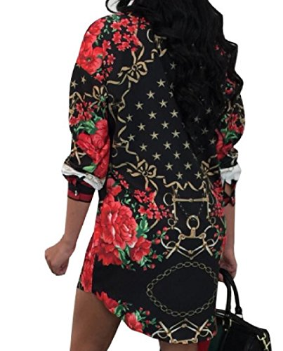 Unbalanced Size Plus Dress Women Style Folk Floral Shirt Vogue Black Coolred n8UC0qTw