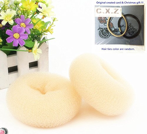 C.X.Z® Hair Styling Tool Hair Bun Ring Donut Extra- Large Diameter 10cm 1pc (Beige)