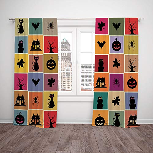 (2 Panel Set Window Drapes Kitchen Curtains,Vintage Halloween Bats Cats Owls Haunted Houses in Squraes Halloween Themed Darwing Art Decorative Multicolor,for Bedroom Living Room Dorm Kitchen)