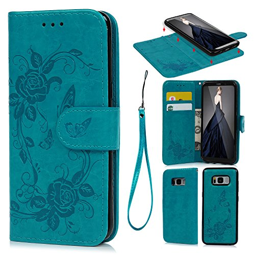 S8 Plus Case, Wallet Case Folio Premium PU Leather Oil Wax Embossed Peony Butterfly Detachable Magnetic Wallet Card Holder Hand Strap Case Made for Samsung Galaxy S8 Plus Blue (Premium Wax Plus)