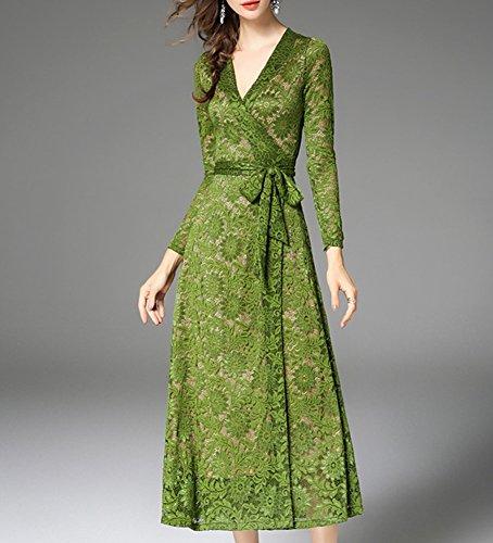 Kleid YL41618 Langarm Partykleid Spitze Grün Linie Reine Midi Damen DISSA Kleider A Hohl Cocktailkleid dzfqIwP