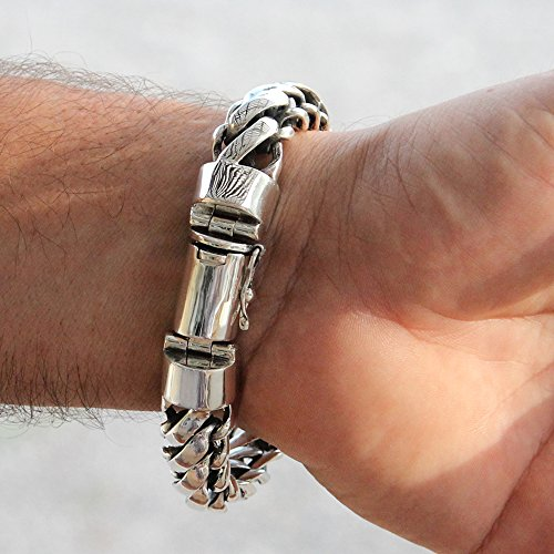 925 Sterling Silver Heavy Round Snake Men Bracelet - Made in Thailand - 9 by VY Jewelry (Image #1)