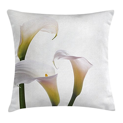 HATS NEW Flower Throw Pillow Cushion Cover, Flourishing Calla Lilies on White Fresh Spring Bouquet Gentle Nature Theme, Decorative Square Accent Pillow Case, 18 X 18 Inches, Green White Yellow