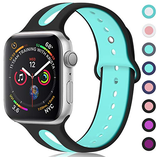 KOLEK Bands Compatible with Apple Watch 44mm/42mm, Sports Band Compatible with iWatch 4/3/2/1, S/M, Black/Green