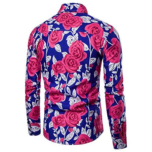 BaZhaHei, Polo de Hombre, Blusa Estampada Flor de la Moda del Hombre Tops Camisetas de Manga Larga Casual Tops para Hombre Camisas de Clásico de la Moda ...