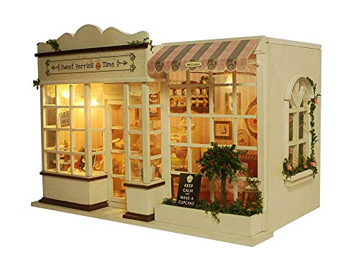 Rylai 3D Puzzles Wooden Handmade Miniature Dollhouse DIY Kit w/ Light -Sweet Berries Time Series Dollhouses Accessories Dolls Houses with Furniture & LED & Music Box Best Xmas Gift