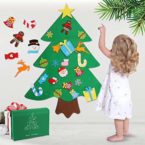 Felt Christmas Tree, 3ft DIY Christmas Tree with 32pcs Ornaments Door Wall Hanging Xmas Gifts for Kids Christmas New Year Decoration (Christmas Cheap Diy Gifts)