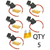 VOODOO 8 Gauge Maxi Inline Fuse Holder Fuseholder with Cover & 40 Amp Fuse (5 Pack)