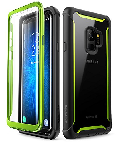 Samsung Galaxy S9 Case, i-Blason [Ares] Full-Body Rugged Clear Bumper Case with Built-in Screen Protector for Samsung Galaxy S9 2018 Release (Black/Green)
