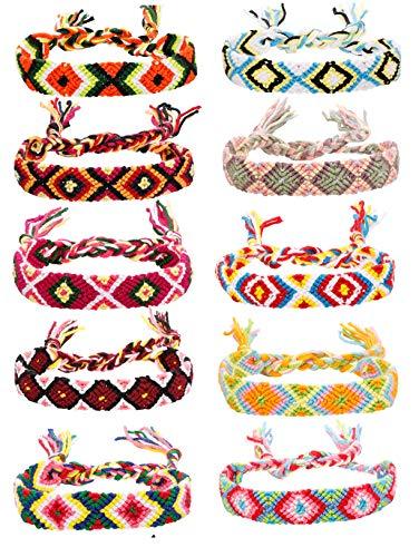 FIBO STEEL Friendship Bracelets for Men Women Handmade Boho Woven Strand Thread for Hair Ponytail]()