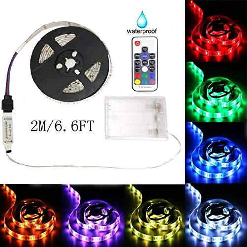 aijiaer Battery Powered Led Strip Lights, 5050 2M/6.6FT, Waterproof Flexible Color Changing RGB LED Light Strip, 60 LEDs 5V Battery-powered with RF Controller by aijiaer