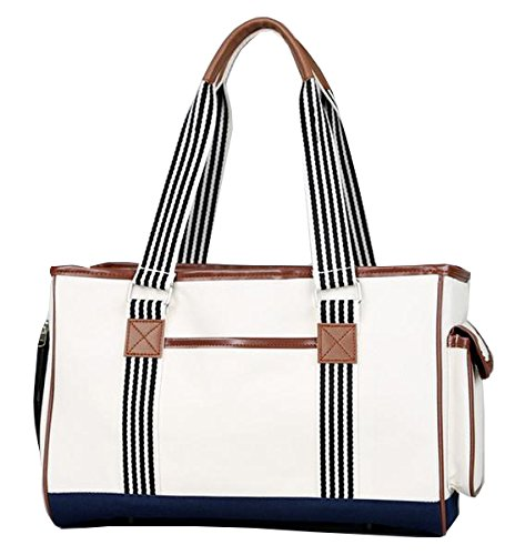 PET LIFE 'Yacht Polo' Fashion Designer Travel Pet Dog Carrier, Medium, White - Leather Pet Carrier