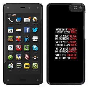 LECELL--Funda protectora / Cubierta / Piel For Amazon Fire Phone -- texto rojo cartel de motivación blanco negro --
