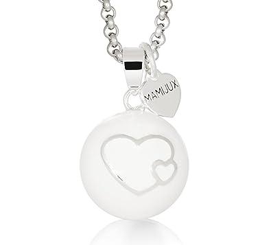 Llamador de ángeles MAMIJUX® esmaltado blanco con corazones y con cadena de acero