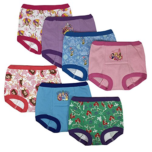 Disney Girls' Toddler Princess 7 Pack Training Pants, Assorted, -