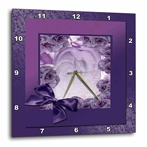 Purple Rose Frame with Bow-Wall Clock - Purple wall clock