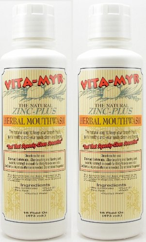 (2 Pack Natural Mouthwash - Effective Herbal 16 oz Vegan, Gluten-Free, Organic and Safe! No Alcohol! Great Taste!)