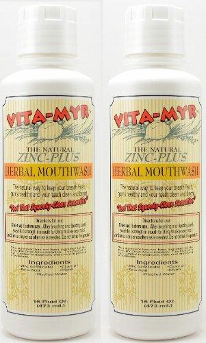 - 2 Pack Natural Mouthwash - Effective Herbal 16 oz Vegan, Gluten-Free, Organic and Safe! No Alcohol! Great Taste!