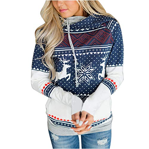 Yagao Double Hooded Sweatshirt Women Christmas Hoodies Autumn Winter Print Women Pullover Blue XXL