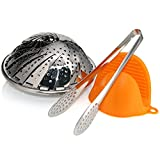 Topoko 100% Stainless Steel Vegetable Steamer, Pasta Steamer, Folding Collapsible Basket for Various Size Pots (Steamer Set)