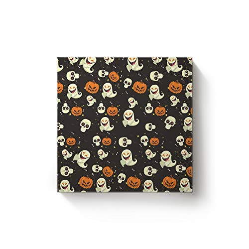 Fandim Fly Halloween Theme Pumpkin Ghost Creative Art Paintings Canvas Oil Paintings Wood Stretched Home Decor Ready to Hang 16x16inch for $<!--$19.61-->