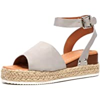 84935b982 Isolion Wedge Sandals Women Espadrilles Ladies Summer Beach Open Toe Buckle  Ankle Strap Shoes Platform 5.5