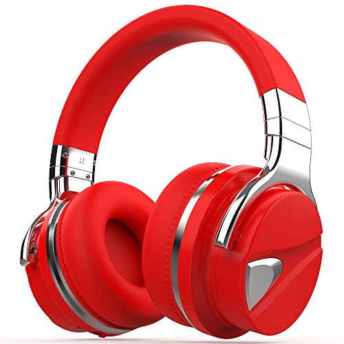 COWIN E7 Active Noise Cancelling Bluetooth Headphones with Microphone Wireless Headphones Over Ear, 30H Playtime for Travel Work TV PC Cellphone - Red-2