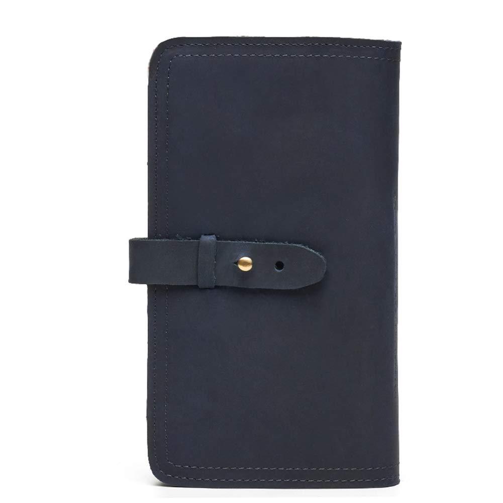 Color : Blue, Size : 19CM11CM2CM HWX Portable Wallet Long Leather Mens Purse Retro Casual Clutch Multi-Function Passport Bag