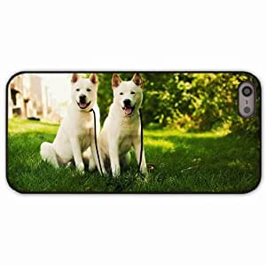 iPhone 5 5S Black Hardshell Case akita inu grass dog couple Desin Images Protector Back Cover