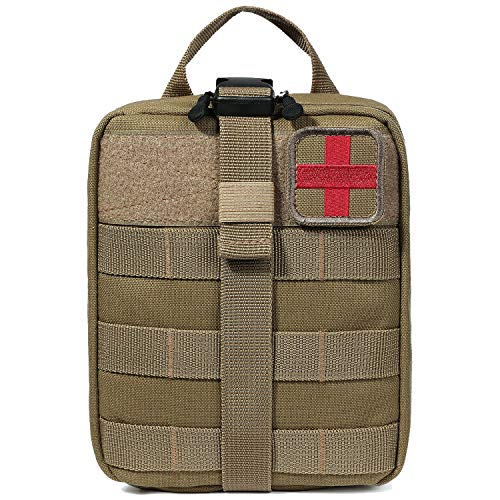 BAGAIL Rip-Away EMT Pouch Molle Pouch Ifak Pouch Medical First Aid Kit Utility Pouch 1000D Nylon (Tan) ()