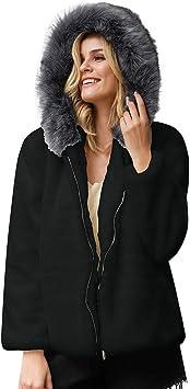 Femme Manteau à Capuche épais Hiver Chaud Fausse Fourrure