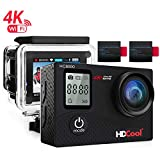 HDCool HC8000 Action Sports Camera 16MP Resolution WiFi Underwater Camera,2.0 Inch LCD Display 170° Wide-Angle Lens, Include 2 Rechargeable 1050 Mah Batteries