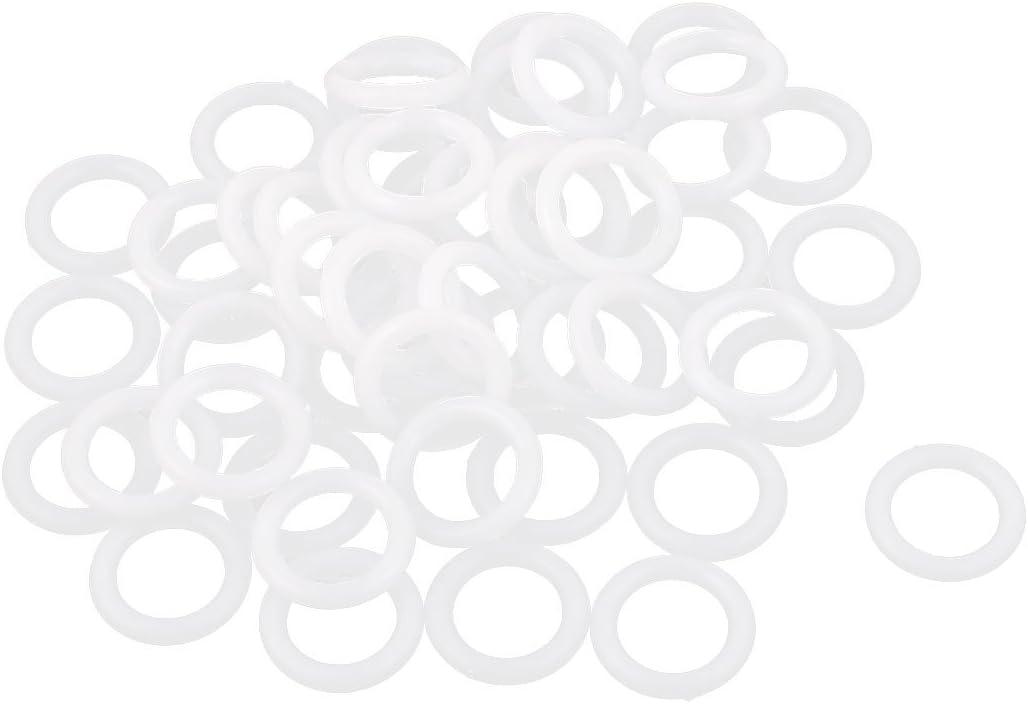 sourcing map Ventana Cortina 10mm Interior Dia Plástico Estor Plegable Anillos Blanco 50 Unidades