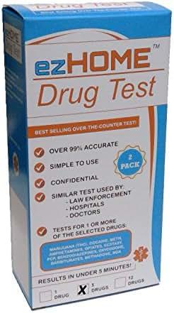 ezHOME Instant Drug Test - THC, COC, MET, AMP, OPI - Pack of 2