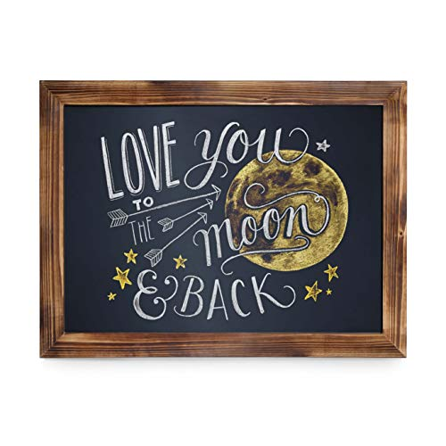 HBCY Creations Rustic Torched Wood Magnetic Wall Chalkboard, Large Size 18