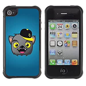 ZeTech Rugged Armor Protection Case Cover - Cute Werewolf Illustration - Apple Iphone 4 / 4S