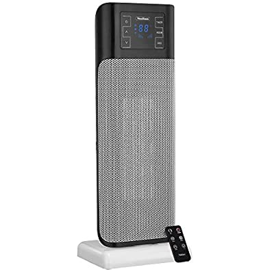 VonHaus 1500W Oscillating Ceramic Tower Fan Heater with Remote Control, Digital Screen, Timer, Modern, Portable PTC Space Heater (8.7 x 6.5 x 22.5 inches)