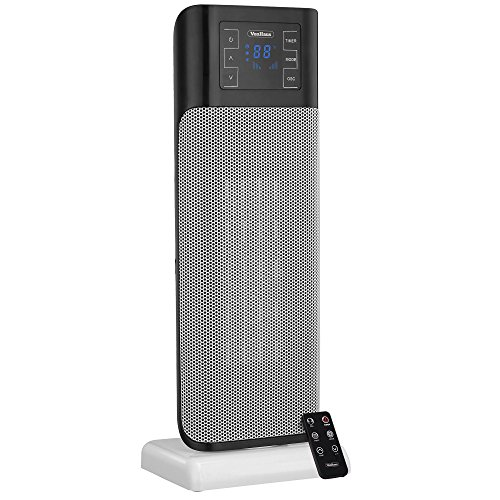 VonHaus 1500W Oscillating Ceramic Tower Fan Heater with Remote Control, Digital Screen & Timer - Modern, Portable PTC Space Heater (8.7 x 6.5 x 22.5 inches) (Space Heater Utility compare prices)
