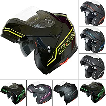 Leopard LEO-838 Flip hasta moto motocicleta accidente casco con DOBLE visera del sol Brillo