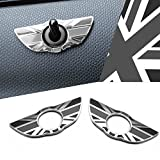 black union jack - iJDMTOY (2) Black Union Jack UK Flag Style Wing Emblem Rings For MINI Cooper R60 Countryman R61 Paceman Door Lock Knobs