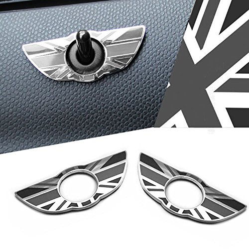 iJDMTOY (2) Black Union Jack UK Flag Style Wing Emblem Rings For MINI Cooper R60 Countryman R61 Paceman Door Lock Knobs