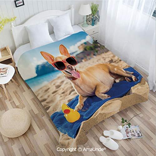 AmaUncle Custom Flannel Blanket W39.37 xL59.06 Bathroom Decor,Chihuahua Dog at The Ocean Shore Sunbathing Smiling Coastal Charm Print Super Soft Lightweight Breathable Sleeping Blanket