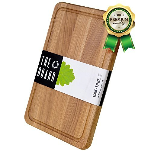 Cutting Board - Wood Cutting Board - More Reliable than Bamboo Cutting Board and More Organic than Plastic Cutting Board - Premium Oak Cutting Board - Perfect Cook's Gift butcher block - Curving ()