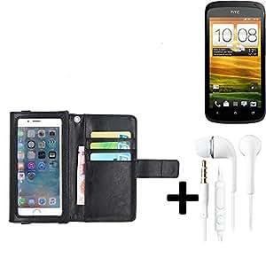 TOP SET: Funda para el HTC One S con la pantalla del protector / protector integrado, negro, cuero sintético + Auriculares | Funda Universal Caso Monedero cubierta del tirón Monedero Monedero