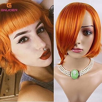 Haned Cosplay breve Bob Parrucche Capelli Sintetici per donne arancione di  animazione di capelli corti f4e75b4aa936